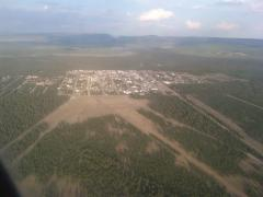An aerial view of the town of West Yellowstone.