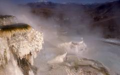 Mammoth Hot Springs in the winter.